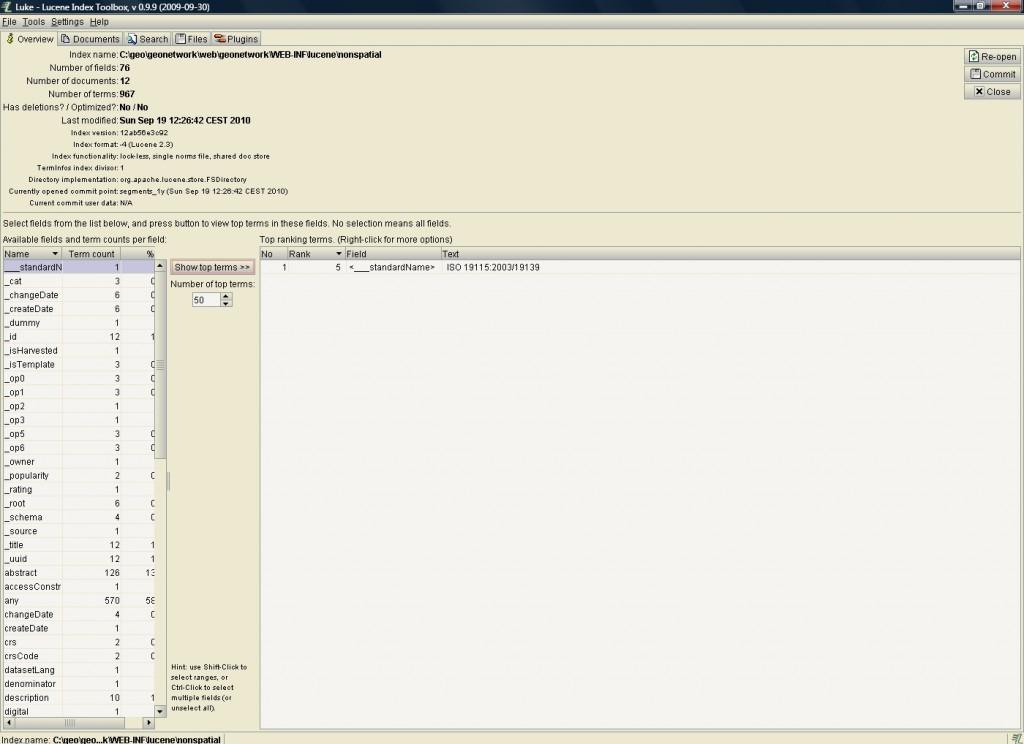 GeoNetwork Lucene-Feld nicht tokenized